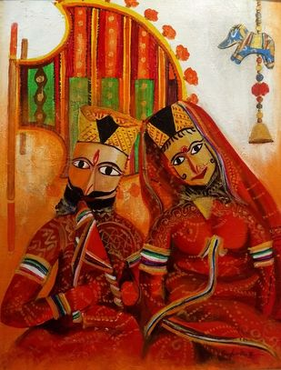 Raja Rani (King and Queen) by Sanghamitra Roy Majumder, Impressionism Painting, Acrylic on Canvas, Brown color