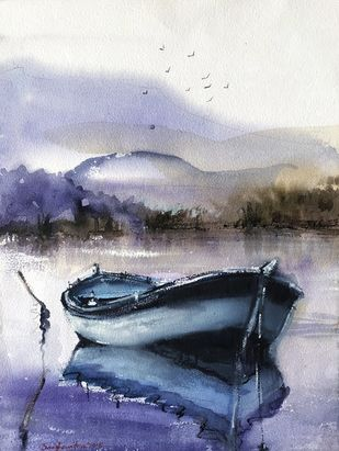 A silent boat by Sanghamitra Roy Majumder, Impressionism Painting, Watercolor on Paper, Gray color