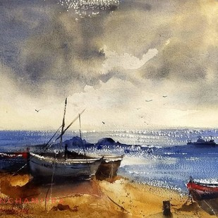 Waiting for another voyage by Sanghamitra Roy Majumder, Impressionism Painting, Watercolor on Paper, Beige color