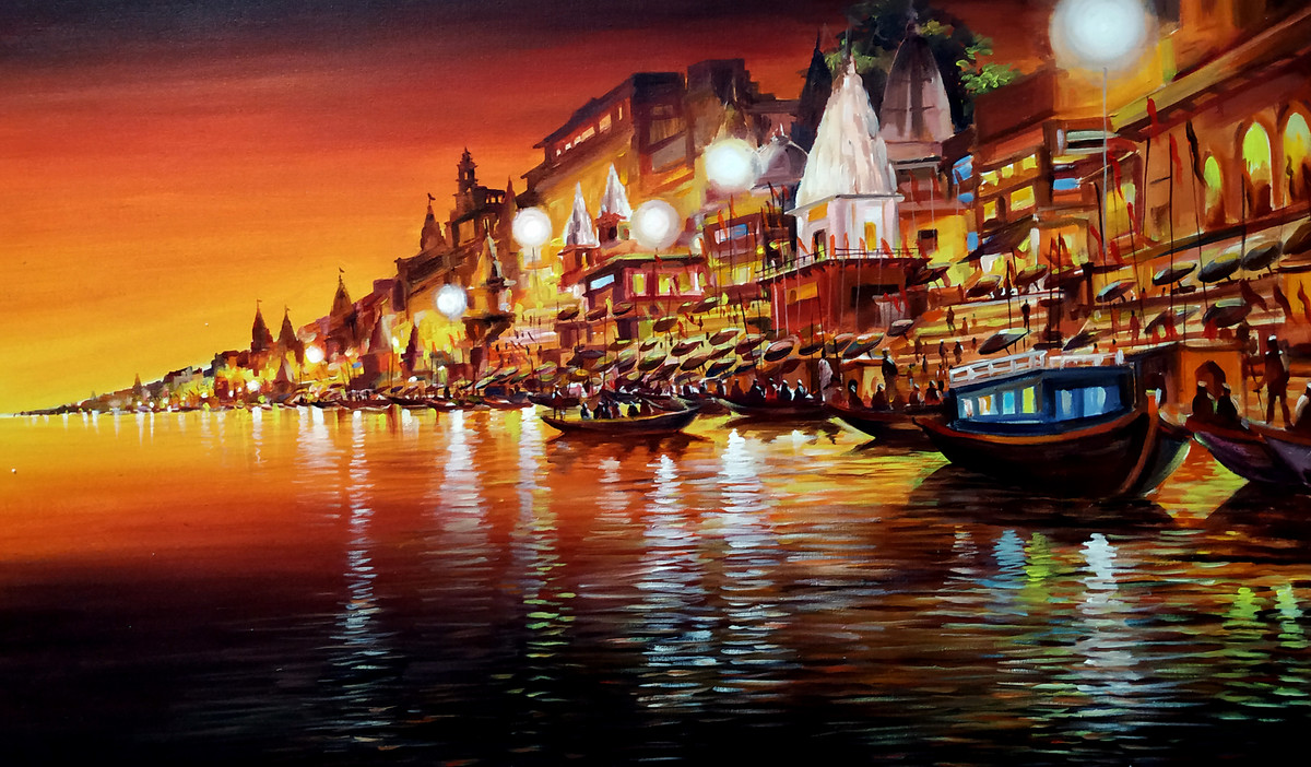 Varanasi Ghats at Night by Samiran Sarkar, Impressionism Painting, Acrylic on Canvas, Brown color