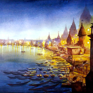 Varanasi Ghats at Night by Samiran Sarkar, Impressionism Painting, Watercolor on Paper, Blue color