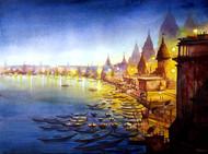 Varanasi Ghats at Night by Samiran Sarkar, Impressionism Painting, Watercolor on Paper, Blue color
