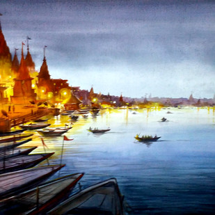 Evening Varanasi Ghats by Samiran Sarkar, Impressionism Painting, Watercolor Wash on Paper, Blue color