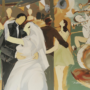The Wedding Moment by Wilson Souza, Expressionism Painting, Oil on Canvas, Beige color