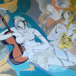 Musical Interlude by Wilson Souza, Expressionism Painting, Oil on Canvas, Cyan color