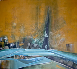 River in the morning by Jeevan Salian, Abstract Painting, Acrylic on Canvas, Brown color