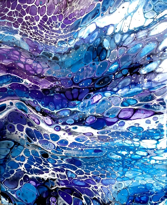 Effect 4 by kakali sanyal, Abstract Painting, Acrylic on Canvas, Blue color