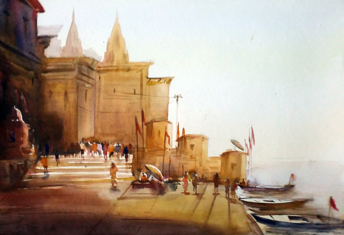 Varanasi Ghats by Samiran Sarkar, Impressionism Painting, Watercolor on Paper, Brown color