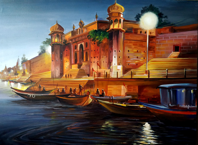 Evening Chet Singh Ghat, Varanasi by Samiran Sarkar, Impressionism Painting, Acrylic on Canvas, Gray color