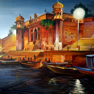 Evening Chet Singh Ghat, Varanasi by Samiran Sarkar, Impressionism Painting, Acrylic on Canvas, Gray color