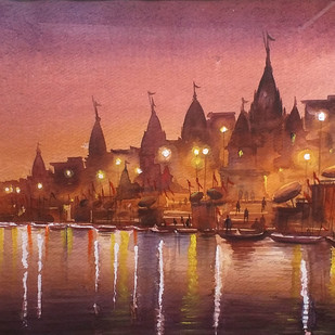 Evening Reflection by Samiran Sarkar, Impressionism Painting, Watercolor on Paper, Brown color