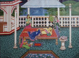 In The Dream of Radha by Gitanjali Sahoo, Decorative Painting, Acrylic on Canvas, Green color