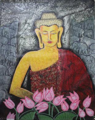 Budha by Gitanjali Sahoo, Decorative Painting, Acrylic on Canvas, Brown color