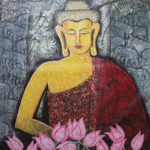 Budha by Gitanjali Sahoo, Decorative Painting, Acrylic on Canvas, Brown color