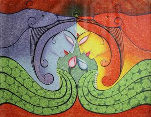 RadhaKrishna by Gitanjali Sahoo, Decorative Painting, Acrylic on Canvas, Green color