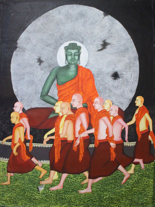 Budha by Gitanjali Sahoo, Impressionism Painting, Acrylic on Canvas, Brown color