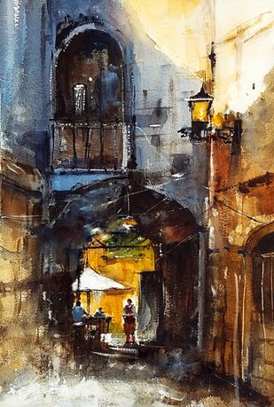 Cafeteria by Sanghamitra Roy Majumder, Impressionism Painting, Watercolor on Paper, Brown color
