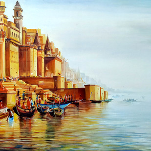Morning Varanasi Ghats by Samiran Sarkar, Impressionism Painting, Acrylic on Canvas, Brown color