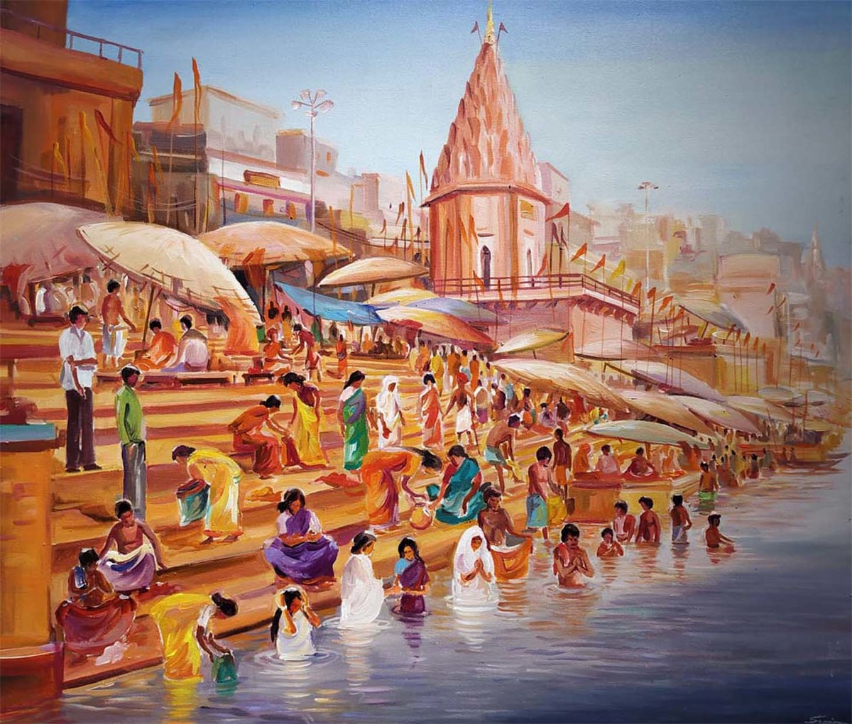 Morning Varansi Ghats by Samiran Sarkar, Impressionism Painting, Acrylic on Canvas, Brown color
