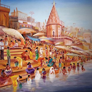 Morning Varansi Ghats by Samiran Sarkar, Impressionism Painting, Acrylic on Canvas, Brown color