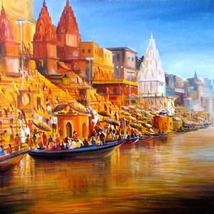 Morning Varanasi Ghats by Samiran Sarkar, Impressionism Painting, Acrylic on Canvas, Brown color