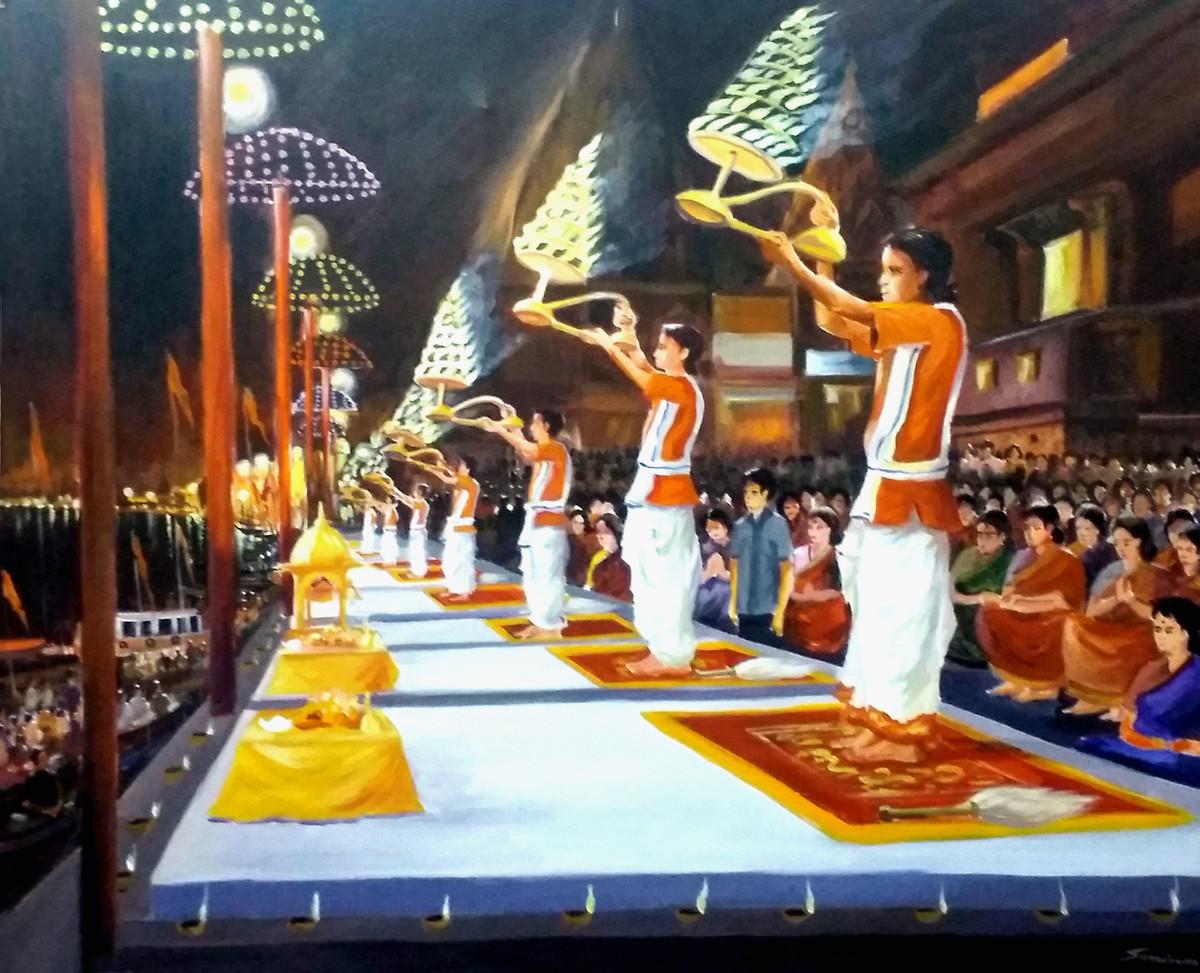 Ganga Arati At Varansi Ghats by Samiran Sarkar, Impressionism Painting, Acrylic on Canvas, Brown color