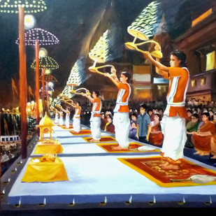 Ganga Arati At Varansi Ghats by Samiran Sarkar, Impressionism Painting, Acrylic on Canvas, Brown color