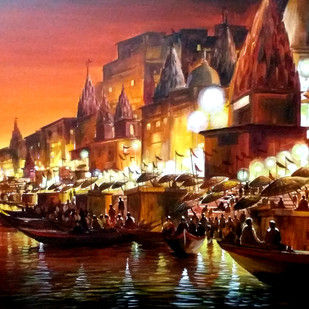Festival Night Varanasi Ghats by Samiran Sarkar, Impressionism Painting, Acrylic on Canvas, Brown color