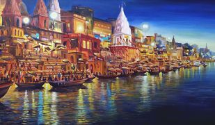 Evening Varanasi Ghats by Samiran Sarkar, Impressionism Painting, Acrylic on Canvas, Brown color
