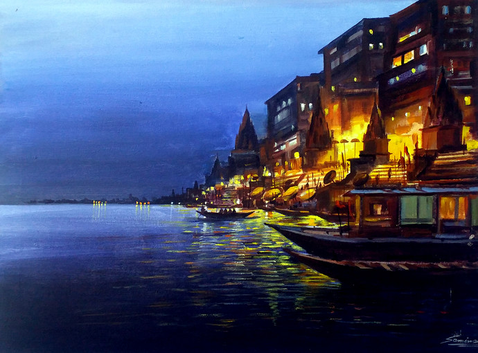 Varanasi Ghat At Silent Night by Samiran Sarkar, Impressionism Painting, Acrylic on Canvas, Blue color