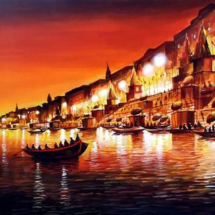 Night Varanasi by Samiran Sarkar, Impressionism Painting, Acrylic on Canvas, Brown color