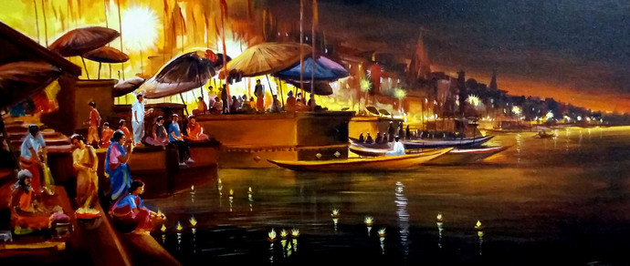 Festival Night At Varanasi Ghat by Samiran Sarkar, Impressionism Painting, Acrylic on Canvas, Brown color
