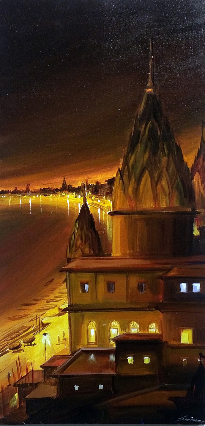 Night Varanasi Ghat From Top View by Samiran Sarkar, Impressionism Painting, Acrylic on Canvas, Brown color