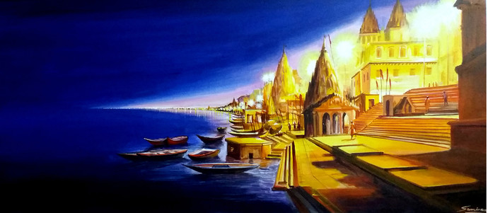 Night Varanasi Ghats by Samiran Sarkar, Impressionism Painting, Acrylic on Canvas, Blue color