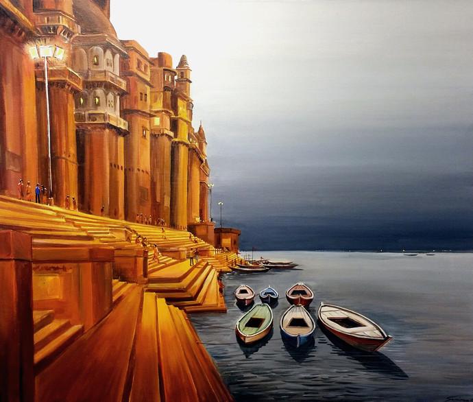 EVENING VARANASI GHAT by Samiran Sarkar, Impressionism Painting, Acrylic on Canvas, Brown color
