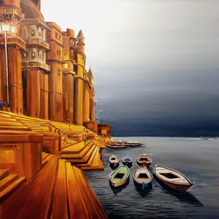 EVENING VARANASI GHAT by Samiran Sarkar, Impressionism Painting, Acrylic on Canvas, Brown color