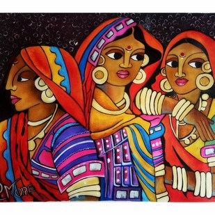 गपशप by PARESH MORE, Expressionism Painting, Acrylic on Canvas, Brown color