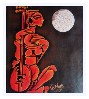 सितार वादक by PARESH MORE, Expressionism Painting, Acrylic on Canvas, Gray color