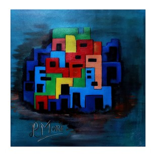 abstract art by PARESH MORE, Geometrical Painting, Acrylic on Canvas, Blue color