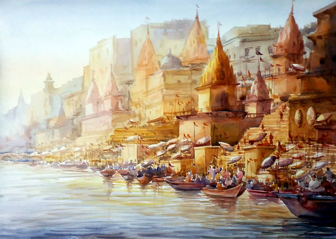 Morning Varanasi by Samiran Sarkar, Impressionism Painting, Watercolor on Paper, Brown color
