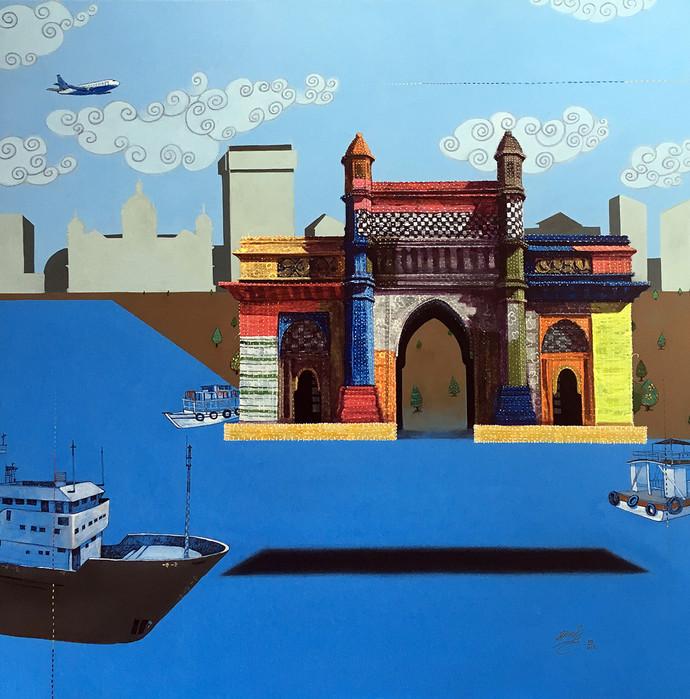 memories (Mumbai) by Ramchandra Kharatmal, Pop Art Painting, Acrylic on Canvas, Blue color