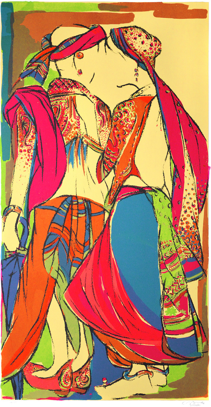 Couple by Vrindavan Solanki, Expressionism Printmaking, Serigraph on Paper, Brown color