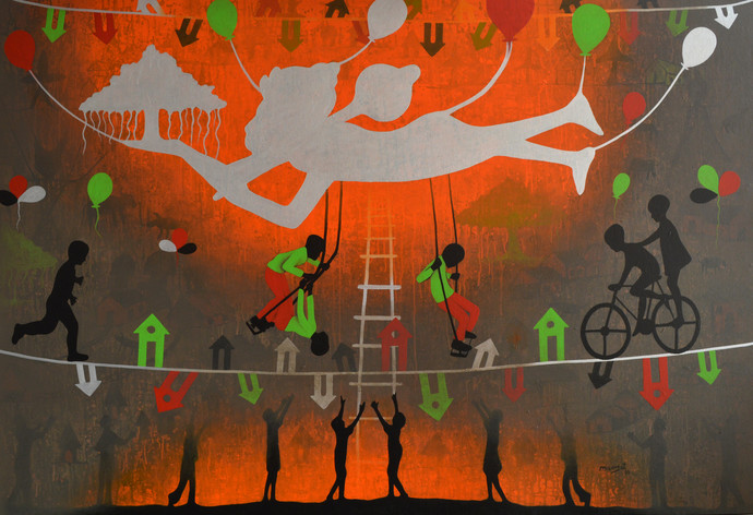 From village to the virtual world by Lakhan Singh Jat, Expressionism Painting, Acrylic on Canvas, Brown color