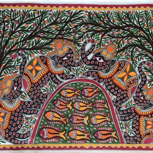 Untitled by Baua Devi, Folk Painting, Acrylic on Paper, Brown color