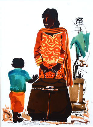Untitled by Sanjay Bhattacharya, Expressionism Painting, Watercolor on Paper, Brown color
