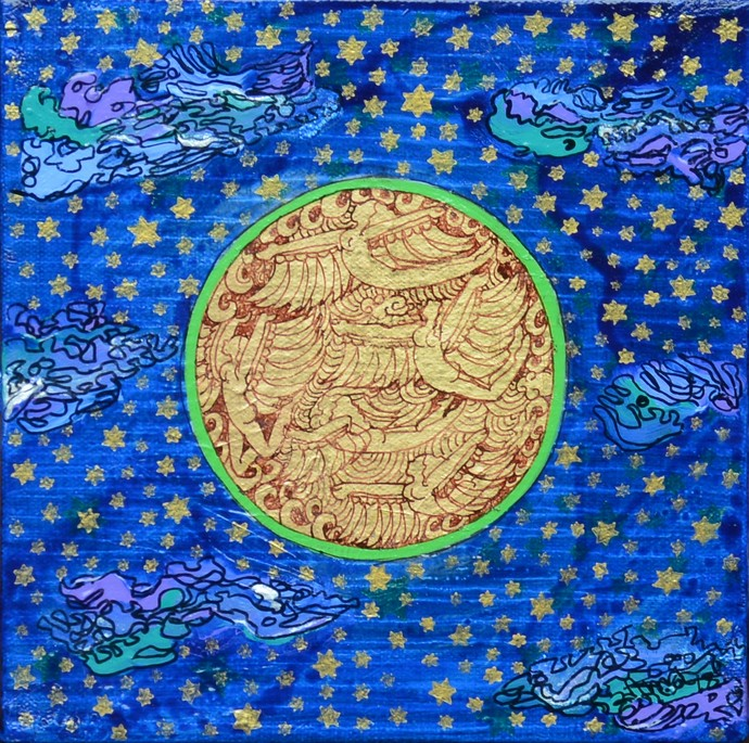 Golden womb series by Seema Kohli, Expressionism Painting, Acrylic & Ink on Canvas, Blue color