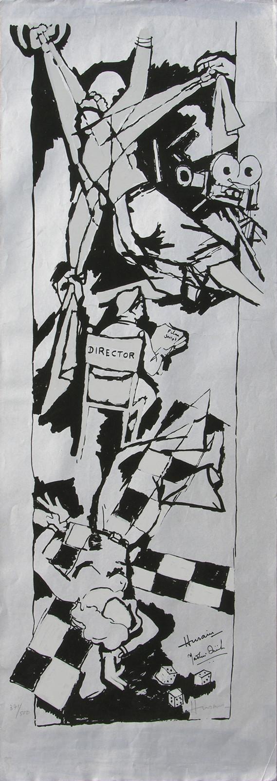 Yeh kaun sa modh hai umar ka - X by M F Husain, Illustration Printmaking, Serigraph on Paper, Gray color