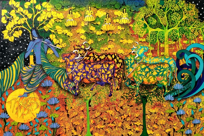 Karisma of Krisna by Arti Vohra, Expressionism Painting, Acrylic on Canvas, Green color