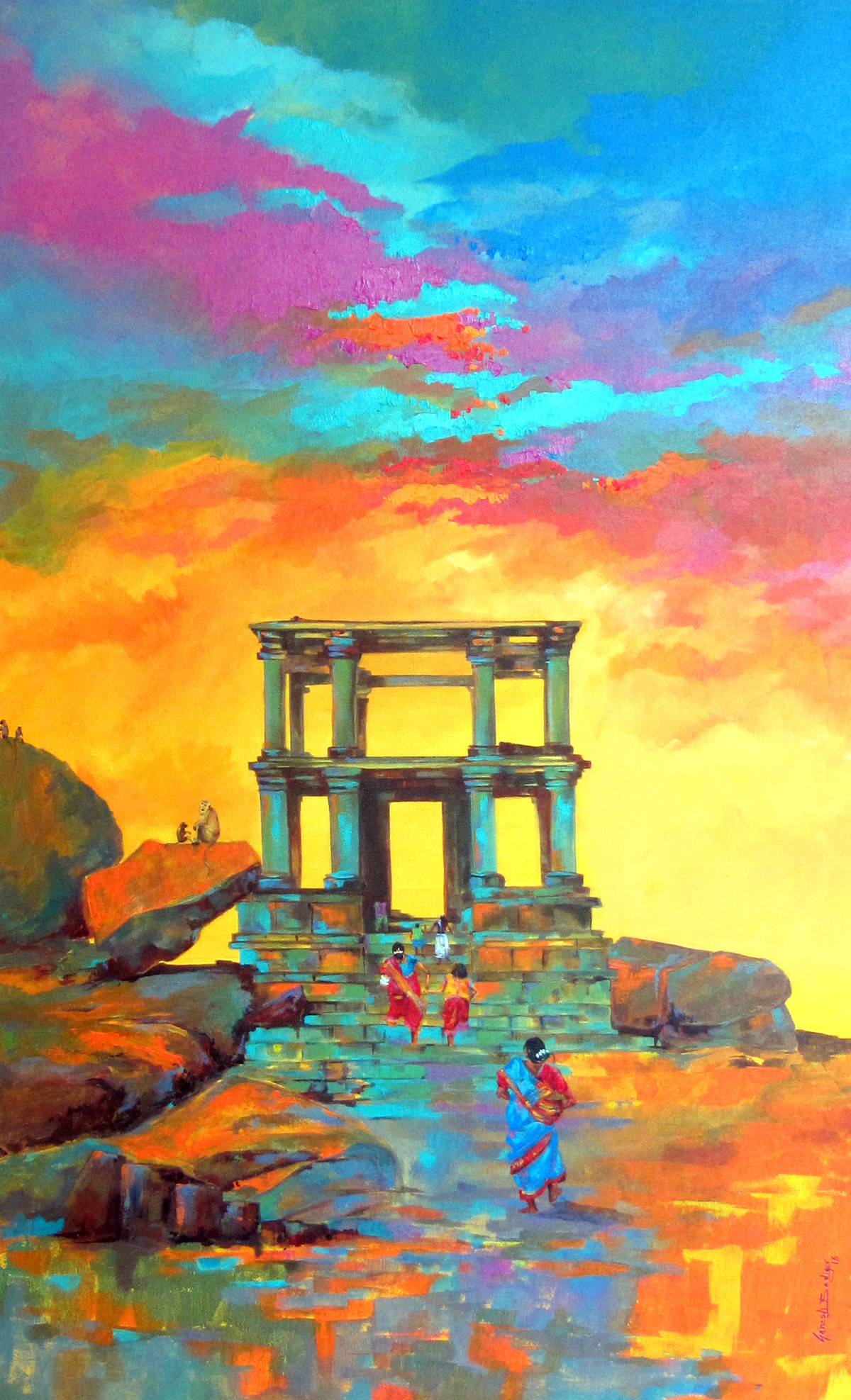 Hampi 02 by Ganesh Badiger, Impressionism Painting, Acrylic on Canvas, Brown color