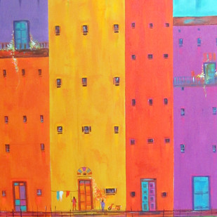 Venice City 07 by Ganesh Badiger, Geometrical Painting, Acrylic on Canvas, Orange color